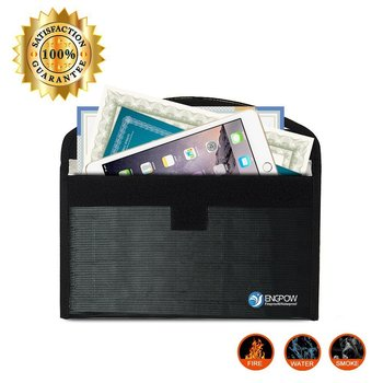 "File Holder Fireproof Bag 10.2"" x 6""NON-ITCHY Silicone Coated Fireproof Money Bag for Cash"