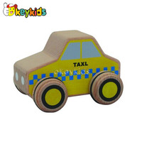 2016 wholesale baby wooden taxi toy car, fashion kids wooden taxi toy car, hottest wooden taxi toy car W04A118