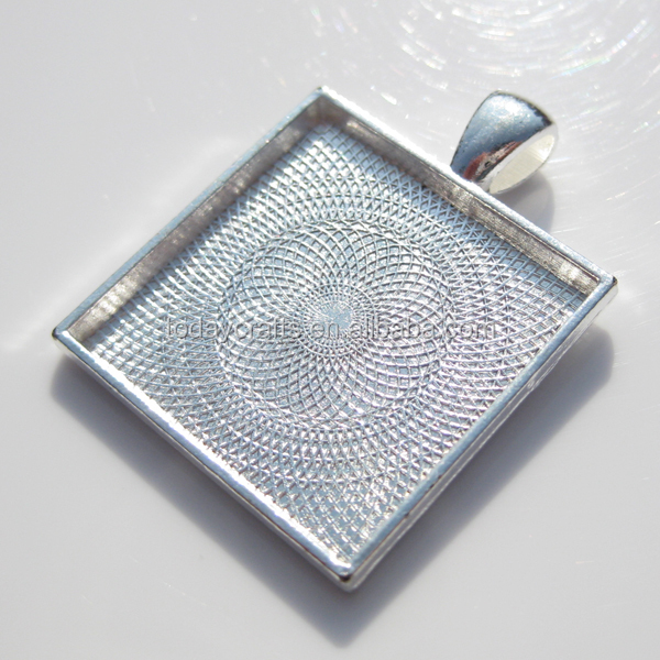 best selling 25mm square metal silver wholesale pendant trays blank