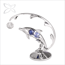 Latest Morden Chrome Plated Metal Crystal Ocean Dolphin Home Decor
