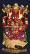 wood carving ganesha statues