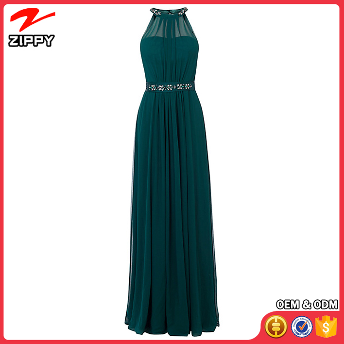 Zippy Clothing Manufacturer Teal Long Maxi evening dress 2016