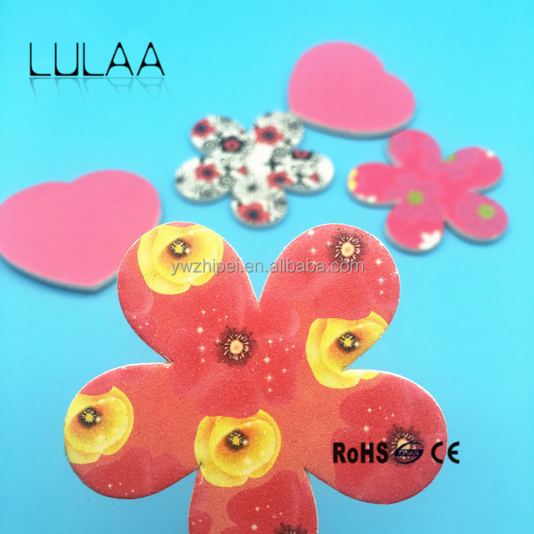 Hot sale New Style Cute Double Sided Printed EVA Flower Shape Sponge Nail File welcome private label and design