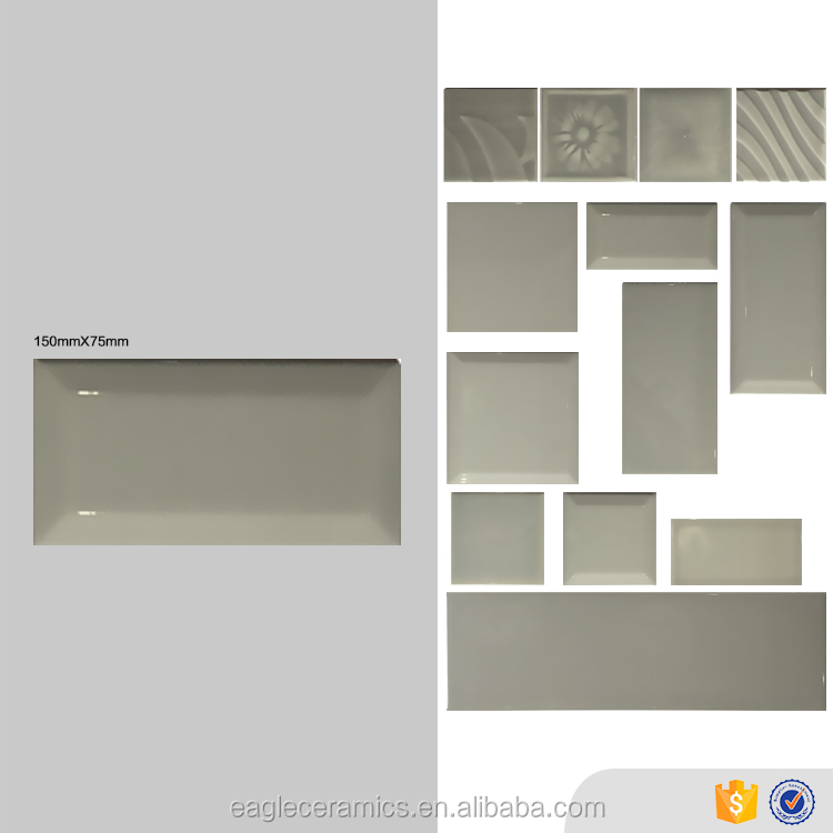 Good quality glazed glossy pure grey kitchen ceramic wall tile 75x150mm bevel edge brick look foshan factory