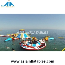 Beach Aqua Park Play Equipment/ Water Floating Platform With Jumping Bag For Rental Business