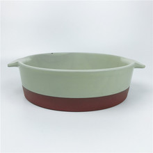Matte Ceramic Dish Fruit Salad Vegetable Baking Bowl Serving <strong>Plate</strong> Tableware with Handle