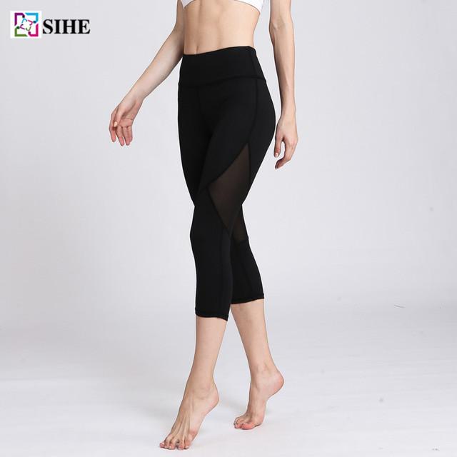 Sexy Black 3 quarter Girl Yoga Pants Fitness Custom Running Tights