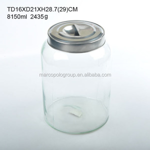10L top selling clear glass jar with handle lid and 430/304 tap