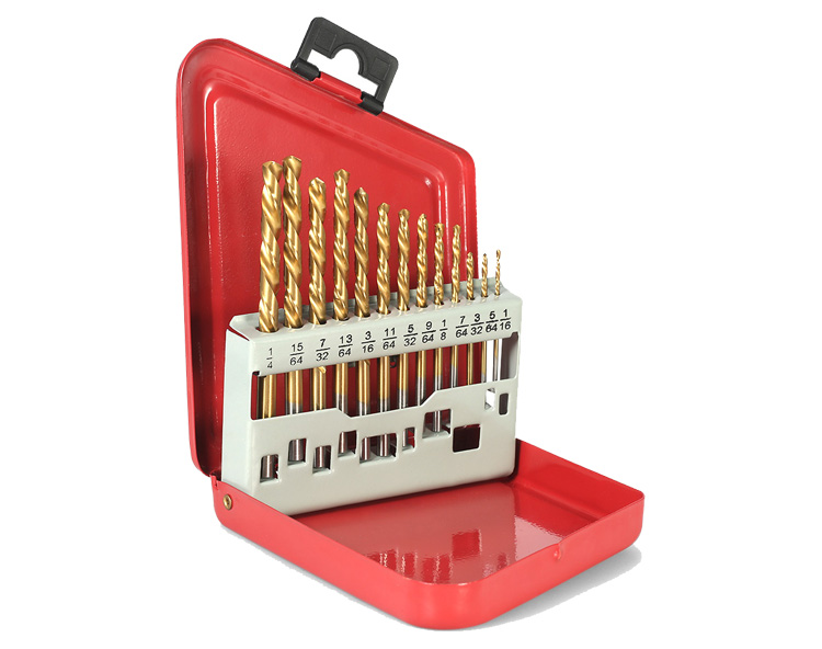 13Pcs HSS Left Hand Drill Bit for Metal Drilling with Metal Box