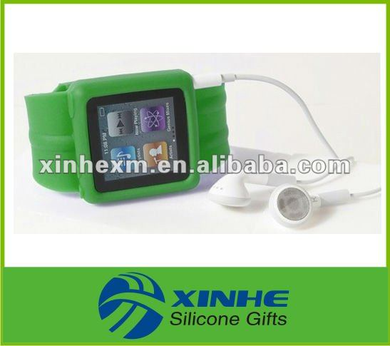 Fashion changeable silicone watch band for iPod Nano 6