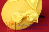 Baby Girls Fascinator / Headpieces Hat Base With Satin Bow In Yellow Wool