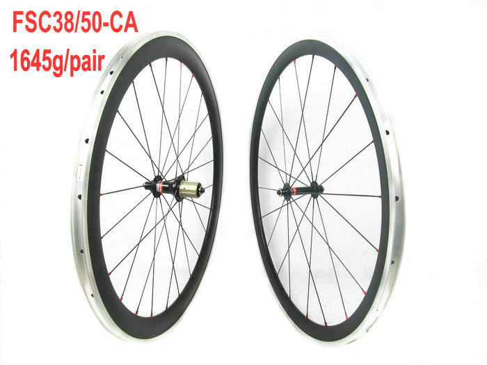Aluminum carbon wheelset 38mm front 50mm rear clincher bicycle wheel mixed road wheelset