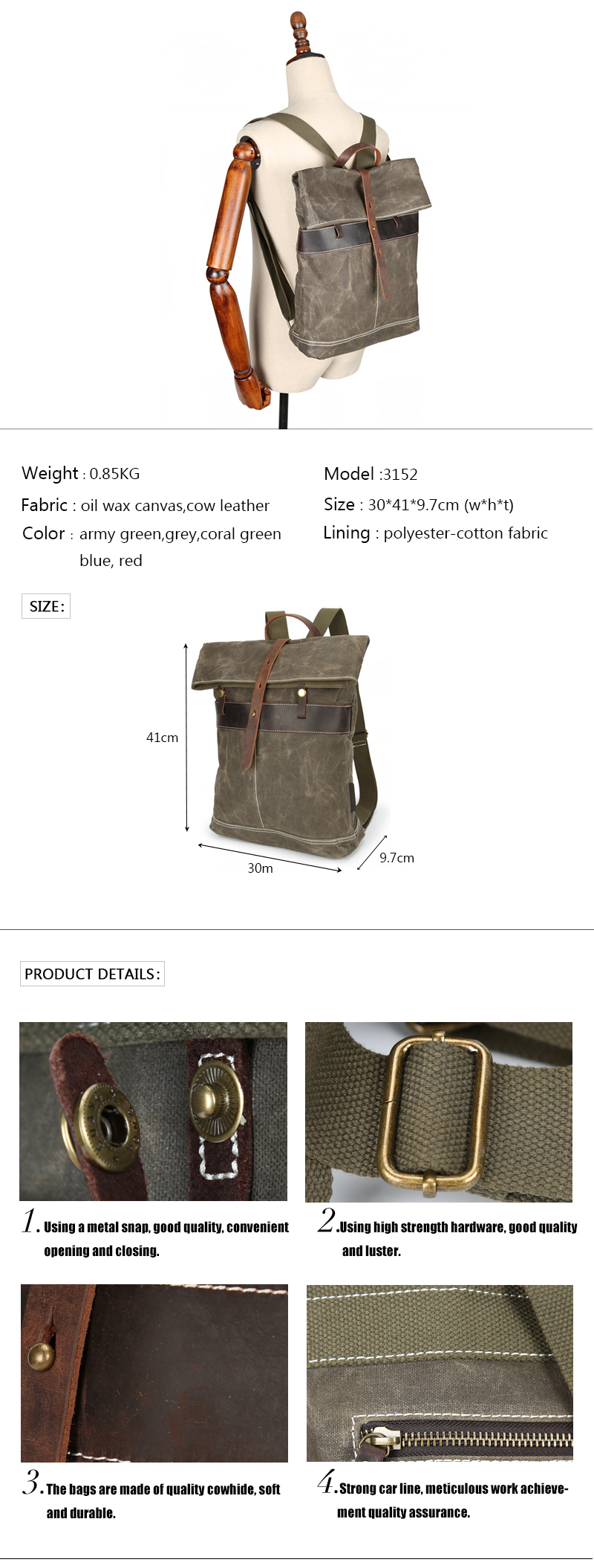 3152-waxed canvas travelling laptop women backpack bag for women
