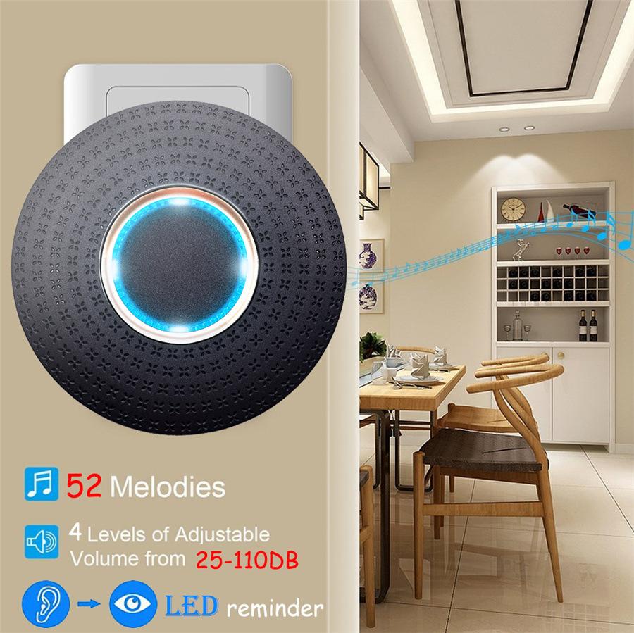 SMATRUL New Waterproof Wireless Doorbell EU Plug 300M Remote smart Door Bell Chime ring 1 2 button 1 2 3 receiver no battery Deaf Gorgeous lighting black 4