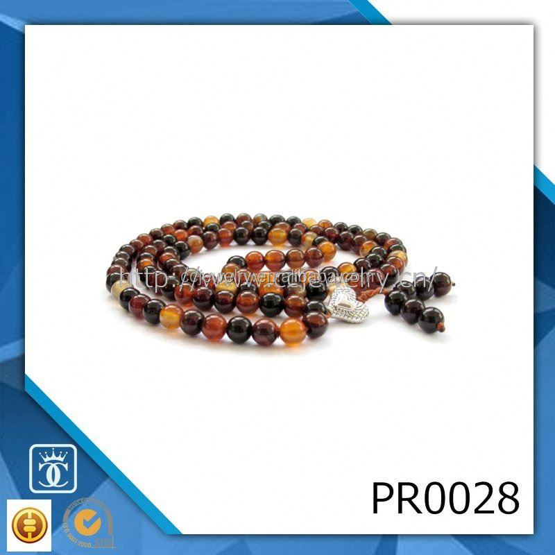 Prayer beads yoga necklace natural sandalwood finished beads wrap jewelry