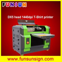 High quality 8 colors A3 size Flatbed t shirt printing machine direct to garment printer with dx5 head 1440dpi