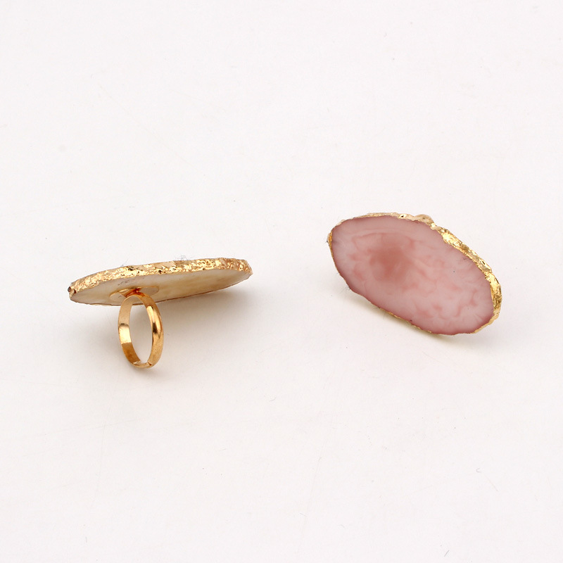 Big simulation natural stone ring design for women