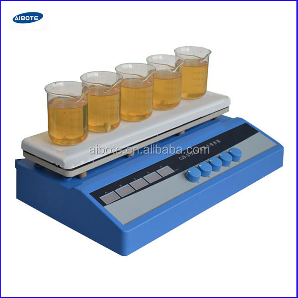 5x 500ml white ceramics platform magnetic stirrer, 5-point magnetic stirrer , 230VAC, 50HZ