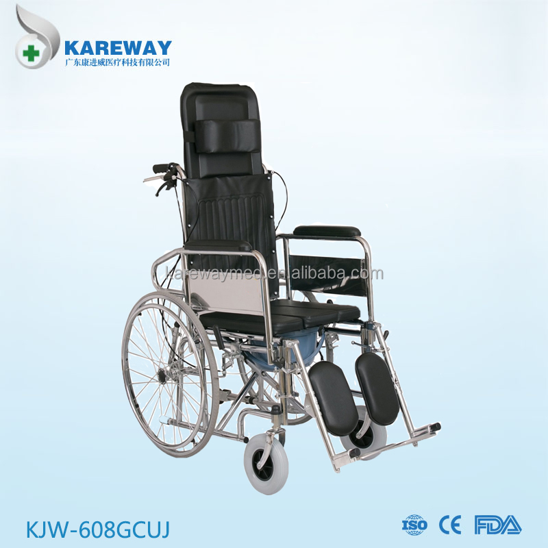 Reclining high backrest manual wheelchair with commode toilet