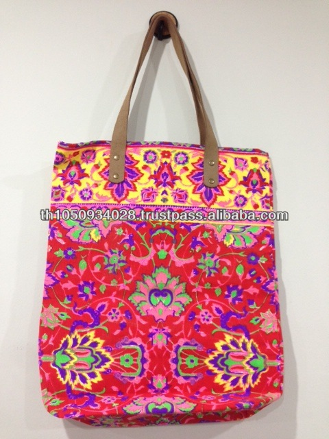 Thai Vintage Indian Hmong Best selling Thailand Neon Canvas Handmade bag NB15