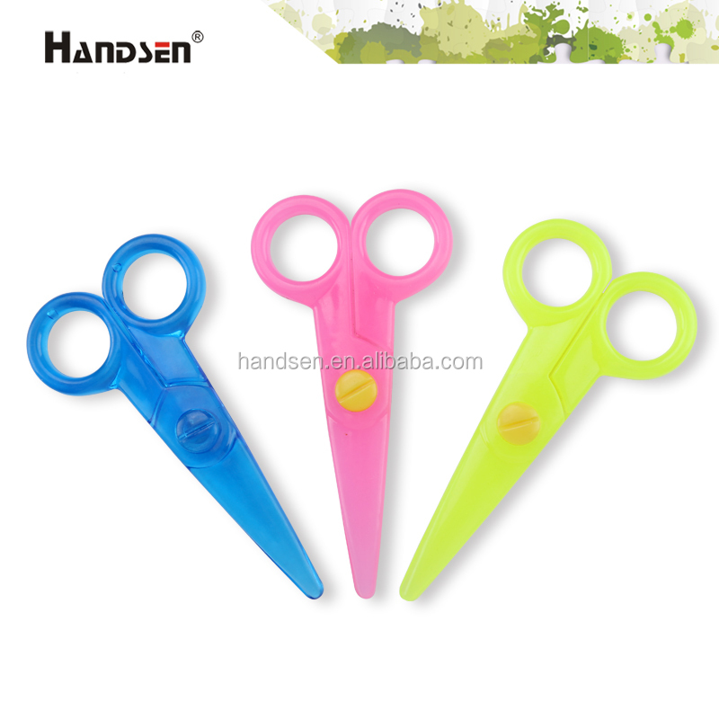 "5"" cute safety full plastic baby scissors"