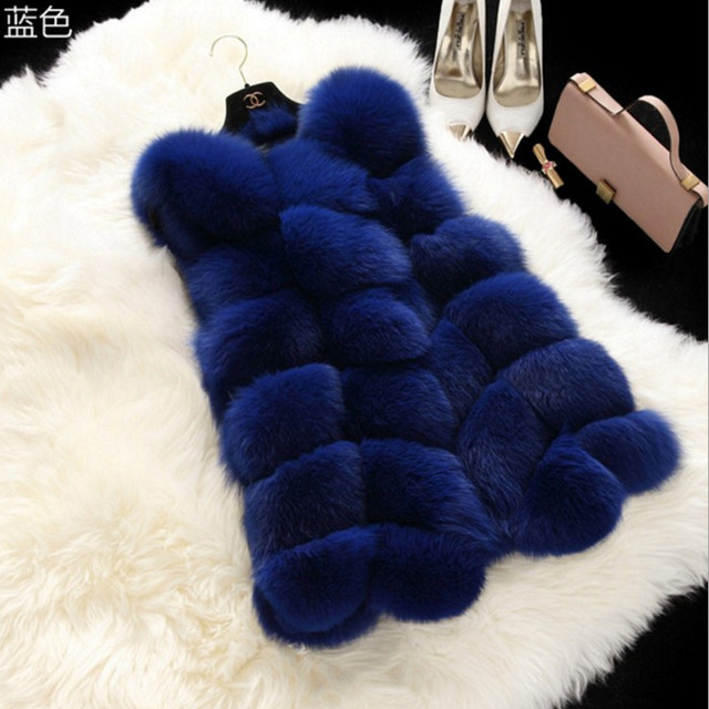 Women Long Rabbit Fur Gilet wholesale fabric faux fur trim vest