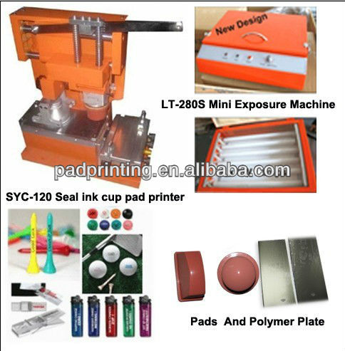 Manual seal ink cup pad printer and mini exposure machine
