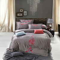 Tencel grey colour embroidery 4pcs duvet cover,bed sheet,pillowcases
