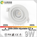 360 angle tilt dim to warm 2000k-2800k UGR ajustable 83mm cutout 9w cob mobile lepu downlight