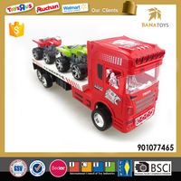 Plastic trailer truck toy with 4 wheel motorcycle
