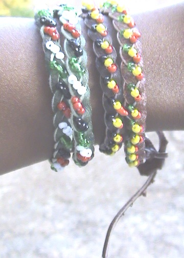 Leather and Beaded African Kenyan Unisex Bracelet