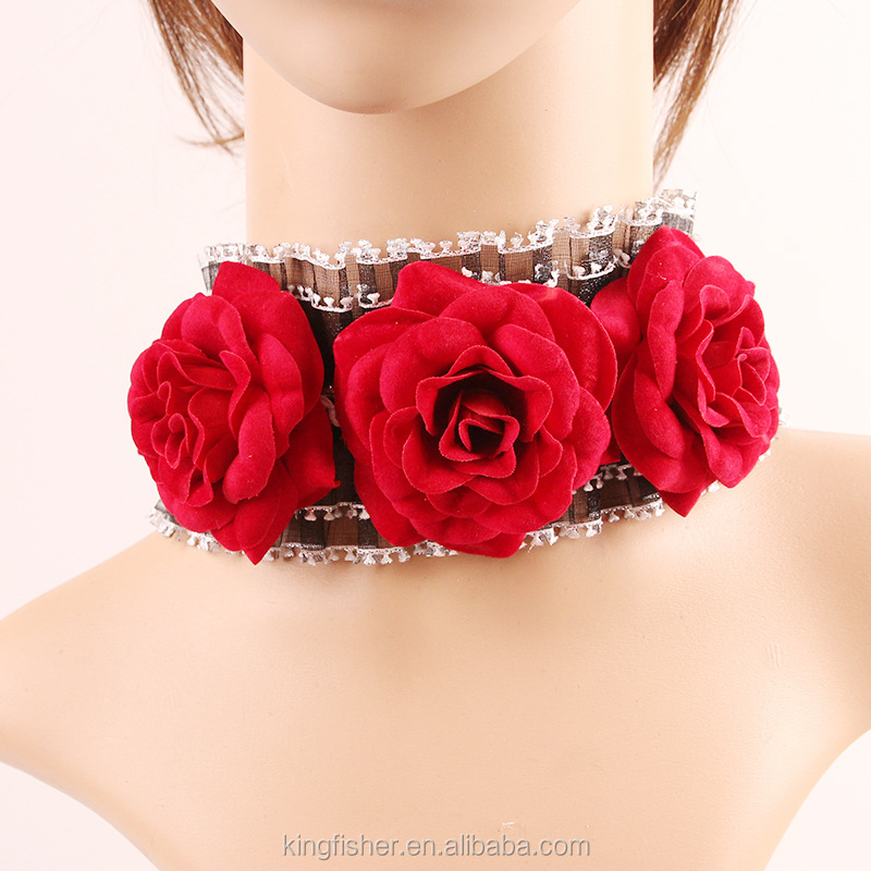 Handmade red artifical rose flower pave retro wide lace choker necklace wholesale