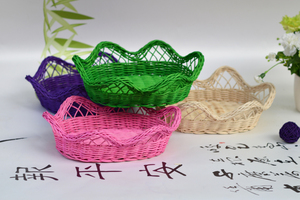 Compact and small round woven wooden natural cane gift basket