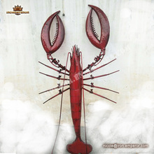 hot!sculpture modern red giant lobsters metal craft