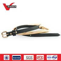 Fashion golden metal elastic belts for women