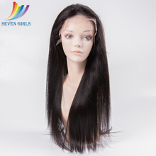 Brazilian Hair Straight 20 Inches Long Natural Color Front Lace Human Hair Wigs For Black Women