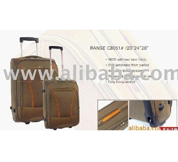 Brown EVA Laminated Panels Simple Canvas Travel Trolley Bag