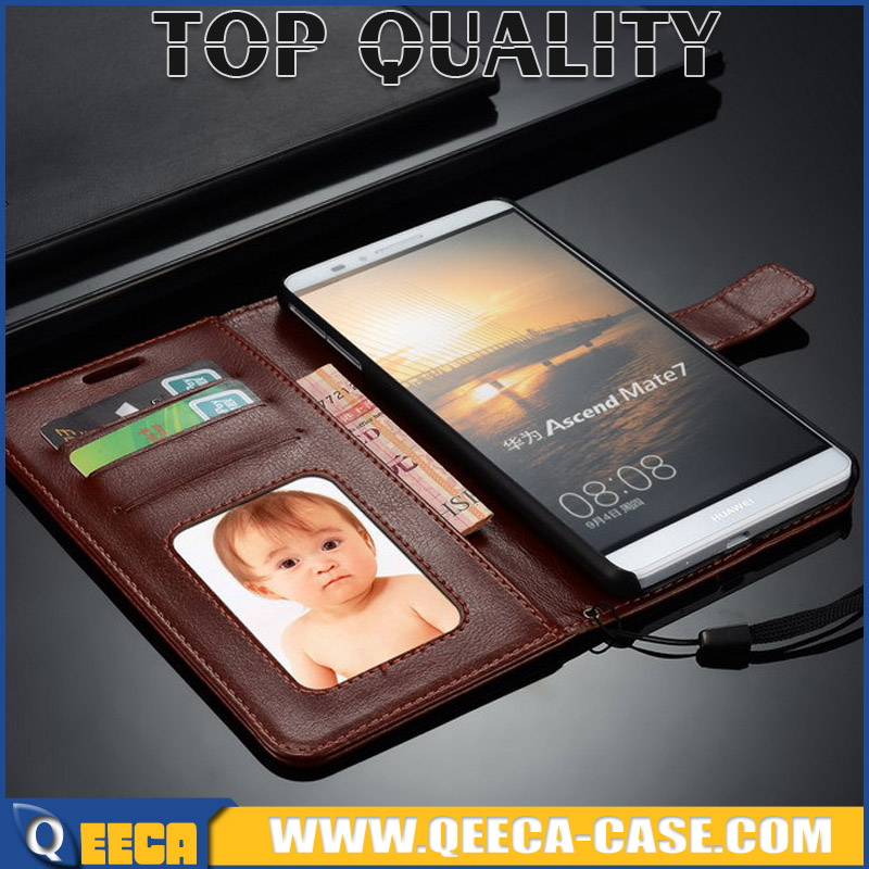 Manufacturer OEM stand flip cover case for huawei Ascend Mate7 mate 7 wallet leather case with lanyard & photo frame