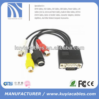 Vga male to male to av converter cable s-video cable for pc tv