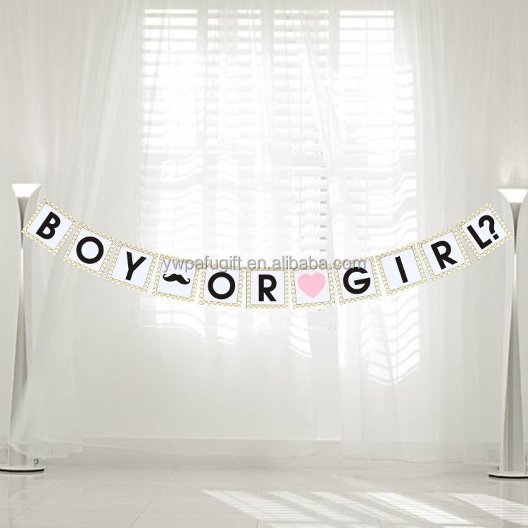 boy or girl baby Shower party decoration Gift paper Bunting Banner