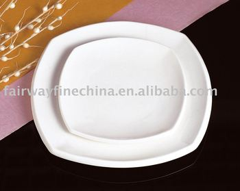 Wholesale Ceramic Souvenir Square White Porcelain Chinese Dinner Plate