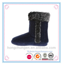 durable fur lining Women knit Slipper Bootie for home use