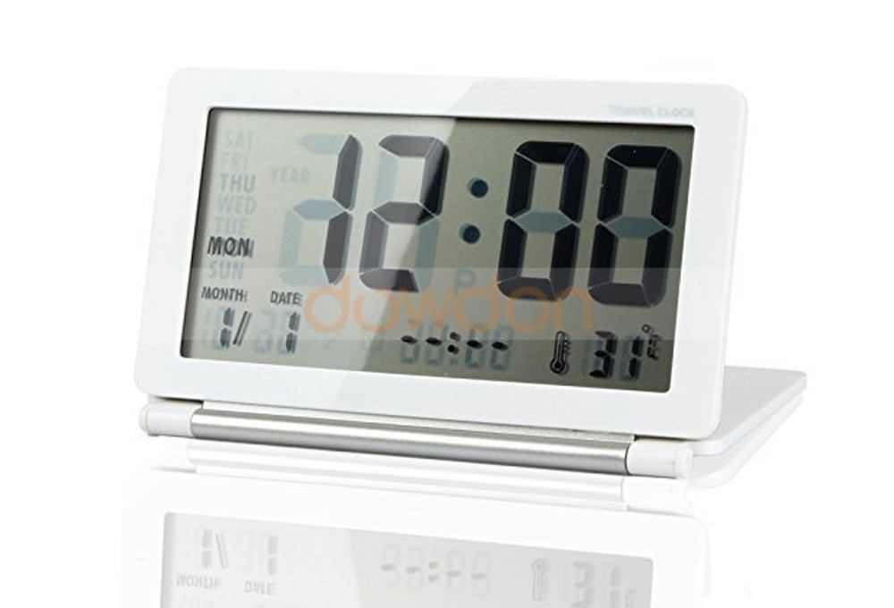 Multifunction LCD Digital Slim Folding Desk Table Snooze Alarm Clock