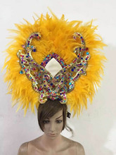 fashion Indian Carnival costume showgirl Feather headdress with colorful crystal cock feather headdresss stage show costume red