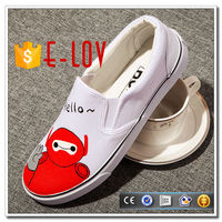 wholesale flat slip on loafer canvas shoes hand painting canvas shoes
