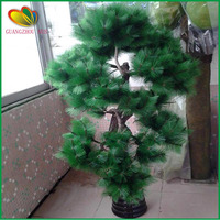 wholesale mini plastic artificial potted pine tree with branches and leaves