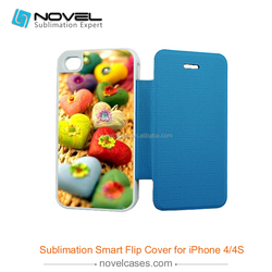 Hot Sale!!! Sublimation phone cover for iphone 4s, Smart fip cover