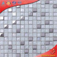 HD03 Crystal White Irridescent Cracked mixed Matt Electroplated Glass Wall Wholesale Mosaic Tiles for Decoration