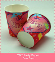 Princess Disposable paper cups Birthday Party Table Ware 10pcs Set