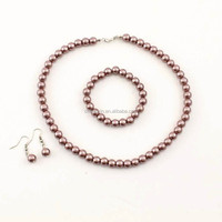basic color pearl necklace set with bracelet earring designs